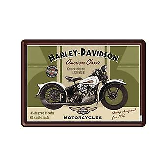 Harley Davidson Knucklehead metalli postikortti / mini merkki