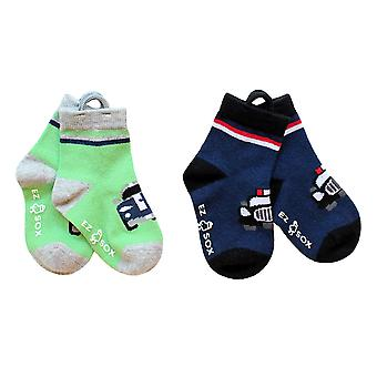 Garçons Voitures EZ SOX Chaussettes - 2 paires, Age 2 - 3 ans