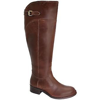 Dames knie hoog echt leer laarzen kleine hiel paardrijden stijl Damesschoenen