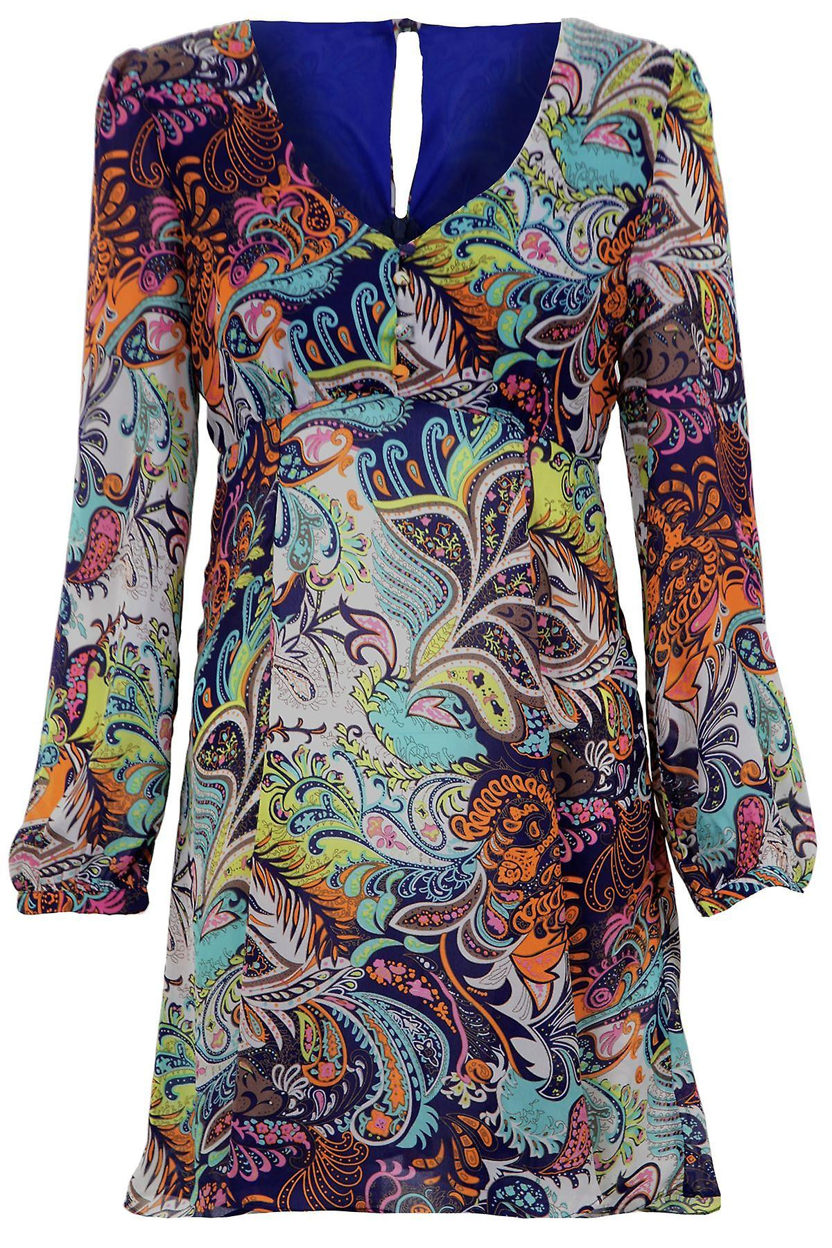 Ladies Long Sleeve Chiffon Multicoloured Paisley Print Women's Dress