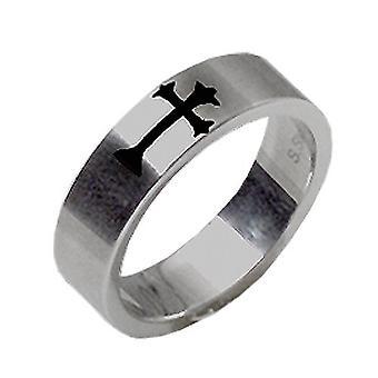 Stainless Steel Ring, Mat Metal, Cross