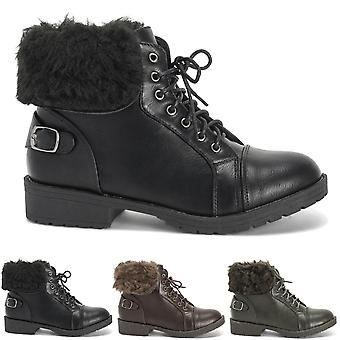 Womens Faux Fur Winter Combat Military Comfort Closed Toe Ankle Boots UK 3-10