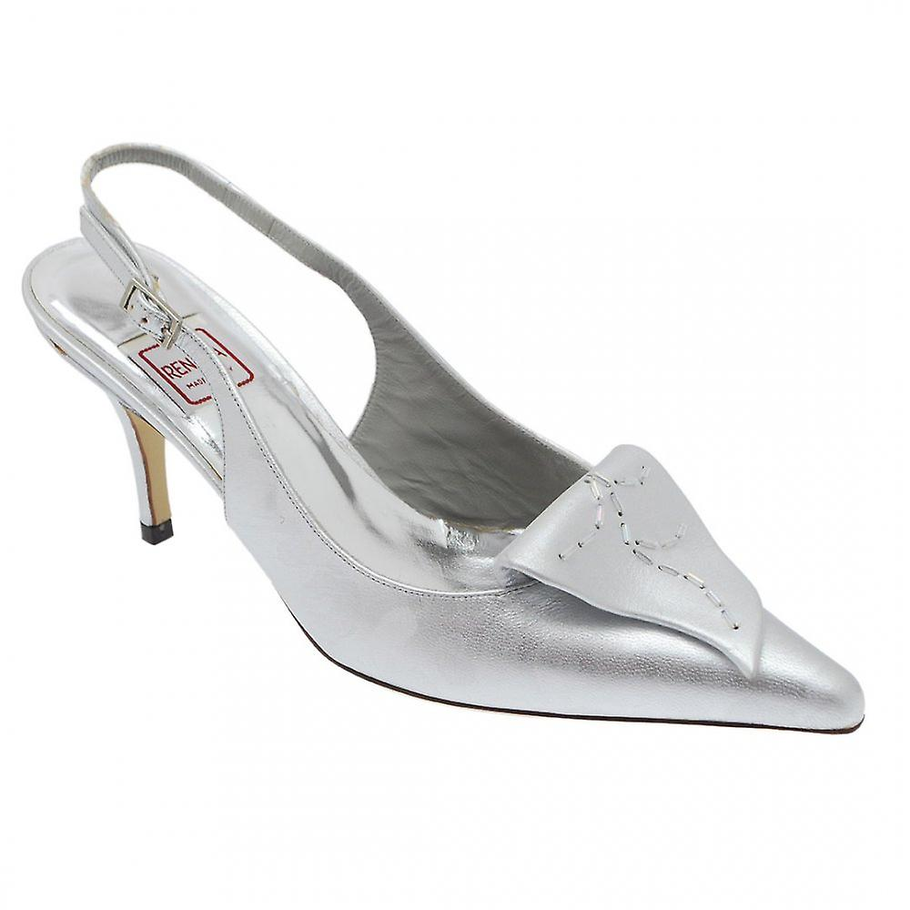 Renata Silver Broc Sling Back With Leaf Detail Wszq8