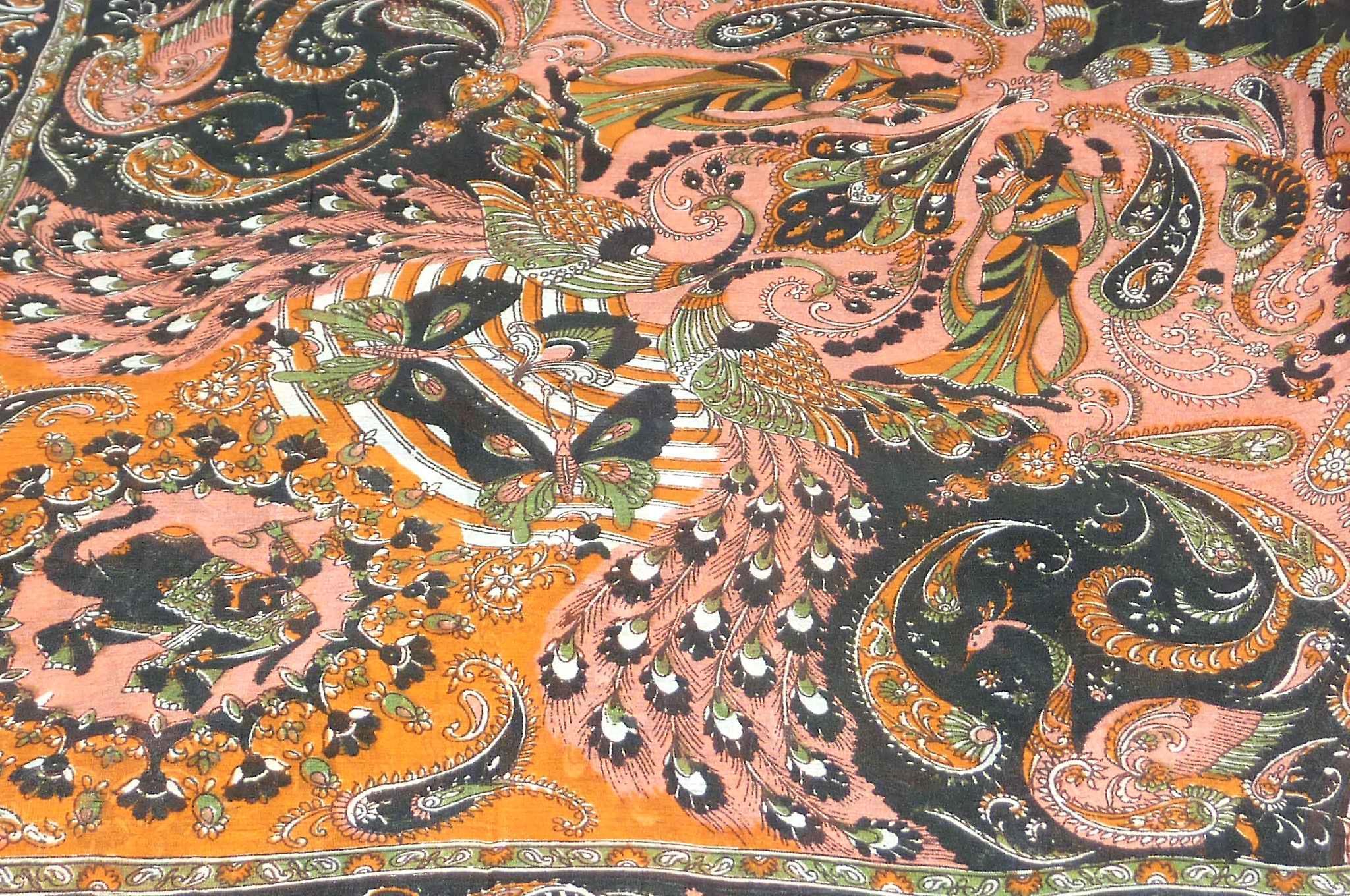Mulberry Silk Traditional Square Scarf Vashta Black by Pashmina & Silk