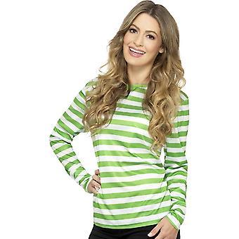 Camiseta de rayas, color verde, con manga larga