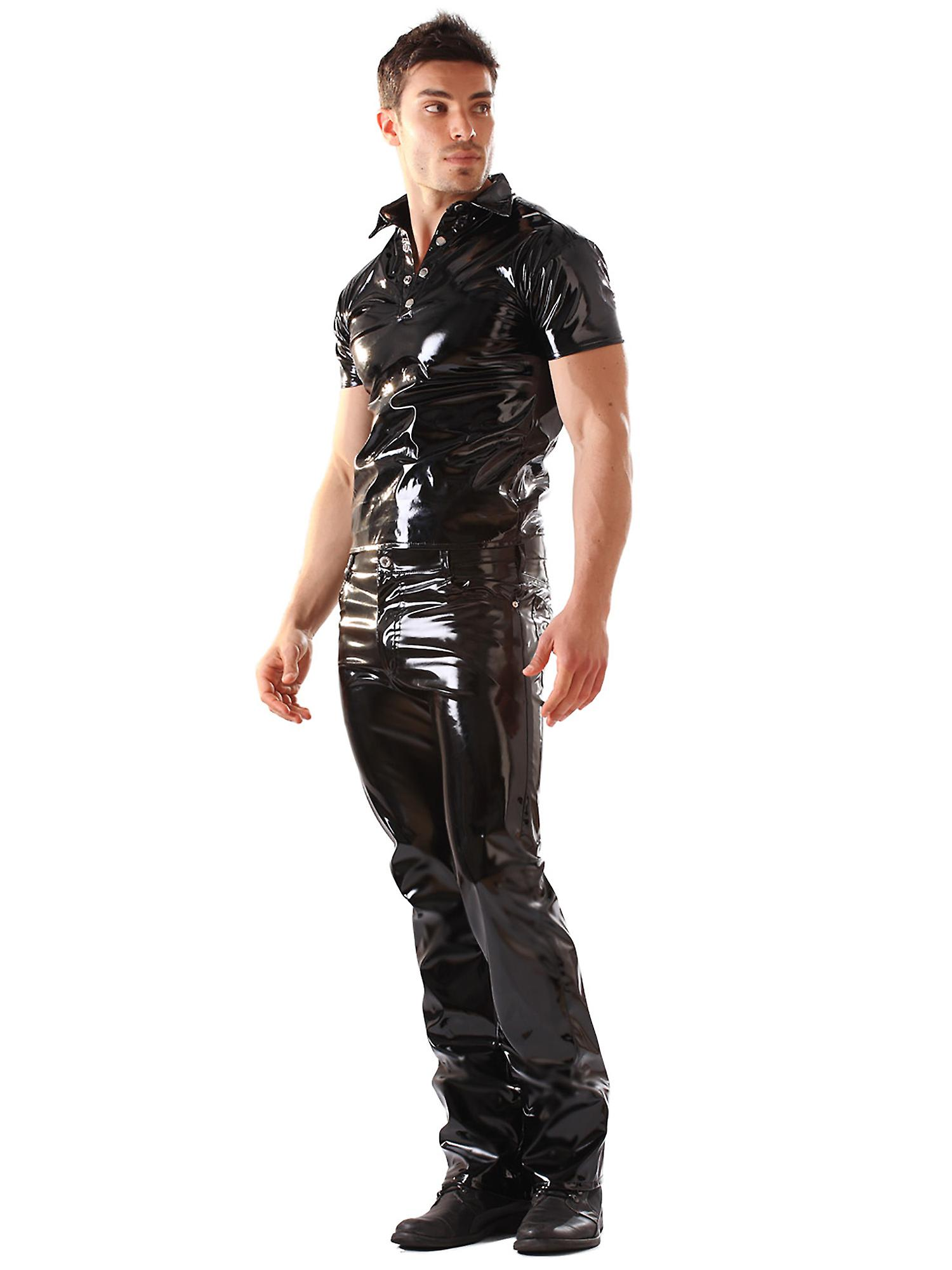 Skin Two Clothing Men's Sexy Jeans PVC Classic Boot Cut Fly Front Costume Black