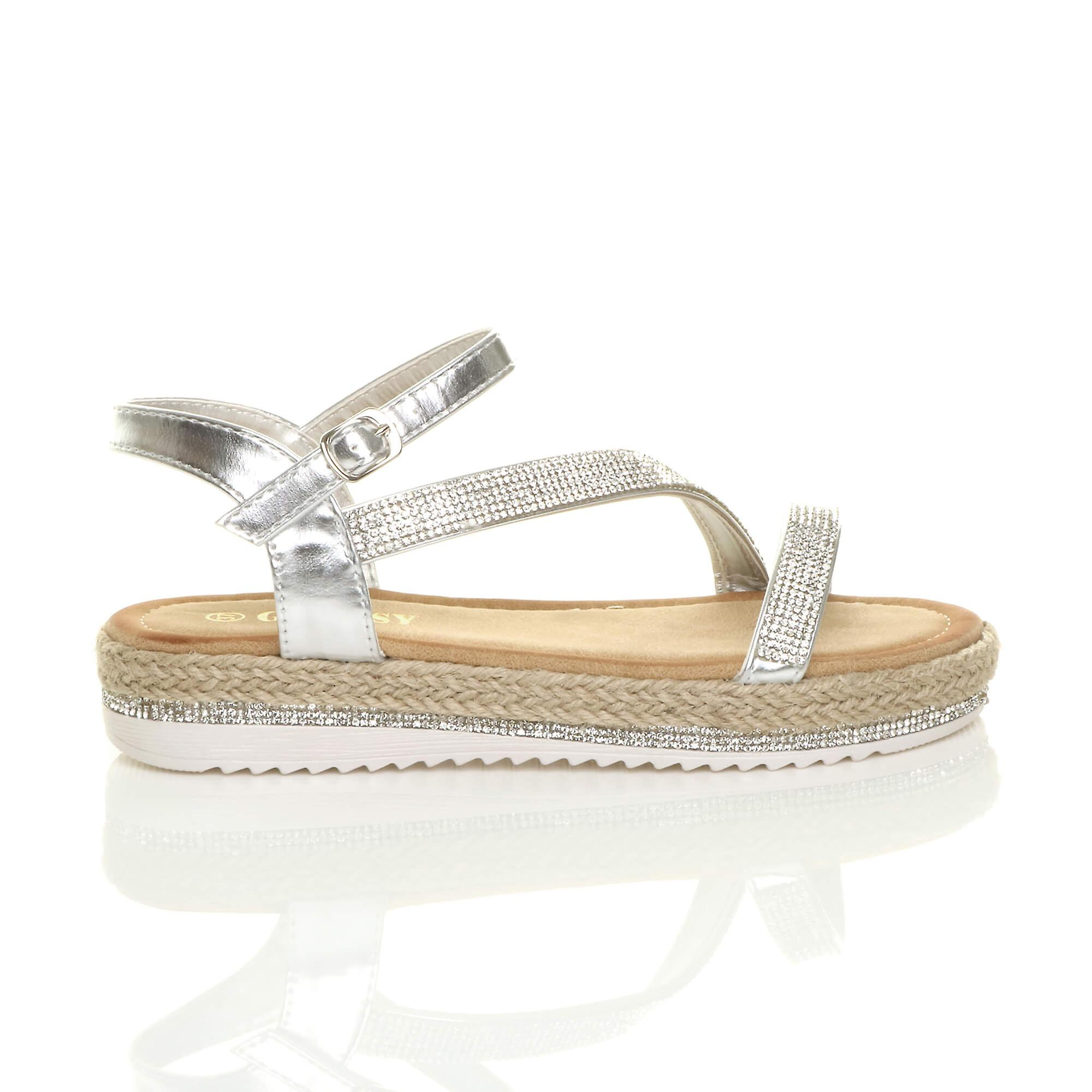 Ajvani womens low wedge platform diamante strappy sandals flatform espadrilles YBElnS