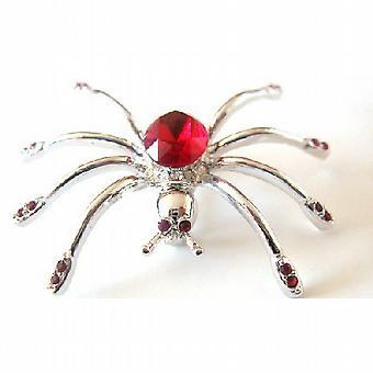Siam rot Kristall Brosche Spinne Brosche Halloween Schmuck auffällig Pin