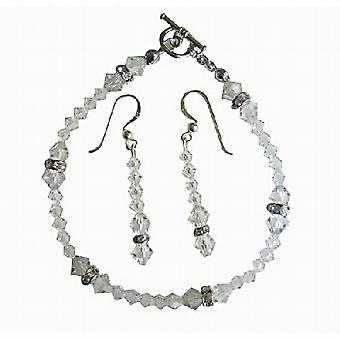 Klare Swarovski Irridscent krystal brude armbånd & øreringe sæt m / ægte Swarovski klar krystal & sølv Rondells