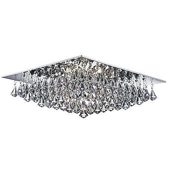 Hanna Chrome Square 8 luce Semi incasso plafoniera con cristalli di piramide - Searchlight 7308-8CC