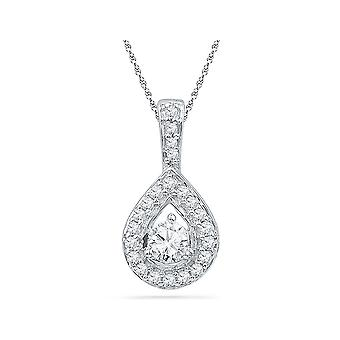 1/3 Carat (ctw G-H, I1-I2) Diamond TearDrop Pendant Necklace in 10K White Gold with Chain