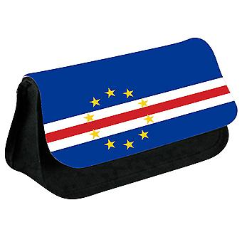 Cabo Verde Flag Printed Design Pencil Case for Stationary/Cosmetic - 0029 (Black) by i-Tronixs