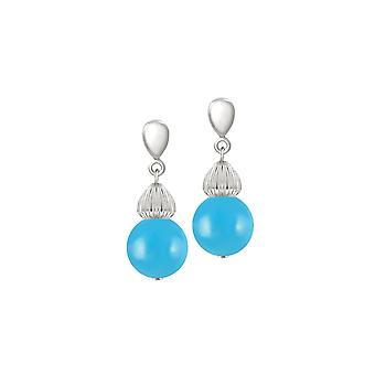 Eternal Collection Solitaire Turquoise Pearl Silver Tone Drop Clip On Earrings