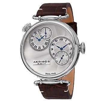 Akirbos XXIV AK796SSBR Men es Quartz Dual Time Leather Silver-Tone Strap Watch