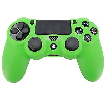 リブ付きハンドル グリップ - 緑の PS4 と Zedlabz Pro ソフト シリコン保護カバー