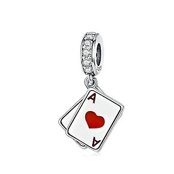 Sterling silver pendant charm Poker double aces