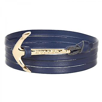 Holler Mosley  Gold Polished Anchor / Blue Leather Bracelet HLB-02GDP-L08