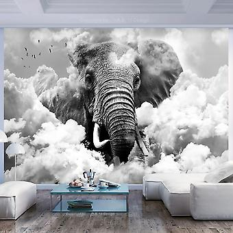 Fotobehang - Elephant in the Clouds (Black and White)