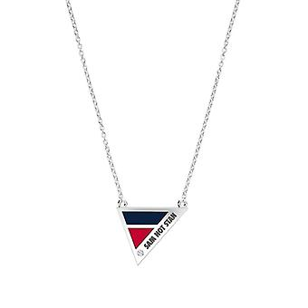 Samford University Engraved Sterling Silver Diamond Geometric Necklace In Blue & Red