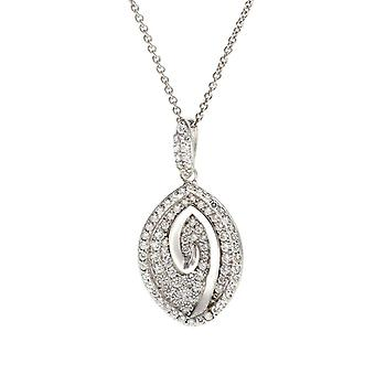 ORPHELIA PENDANT WITH CHAIN 925 SILVER LEAF MICRO PAVE ZIRCONIUM