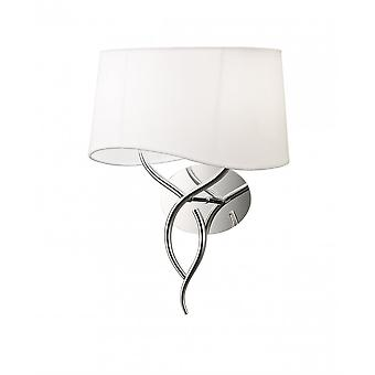 Mantra Ninette Wall Lamp 2 Light E14, Polished Chrome With Ivory White Shade