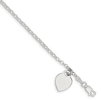 925 Sterling Silber poliert flach zurück gravierbare Hummer Kralle Verschluss Liebe Herz Charm Armband 7,25 Zoll Hummer Kralle