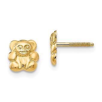 14k Yellow Gold Polished Screw back Post Earrings Teddy Bear Screw-Backback for boys or girls Earrings - Measures 7x6mm