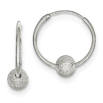 925 Sterling Silver Laser cut Laser Bead Endless Hoop Boucles d'oreilles Bijoux Bijoux pour les femmes - 1,3 Grammes
