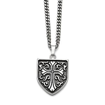 Stainless Steel Religious Faith Cross Shield Pendant Necklace 24 Inch Jewelry Gifts for Women