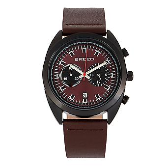 Race Racer Chronograph Leather-Band Watch w/Date - Noir/Maroon