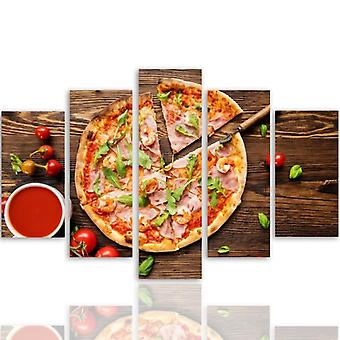 Five Part Picture On Canvas, Pentaptych, Type A, Pizza With Arugula