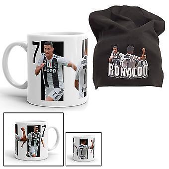 Ronaldo Mössa + Mugg  paket med tryck Juventus