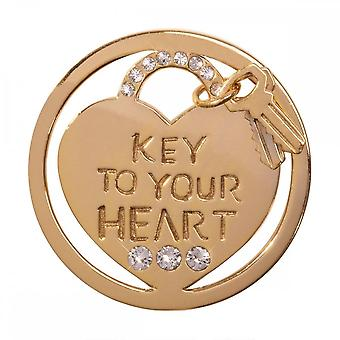 Nikki Lissoni Key To Your Heart Medium Gold Plated Coin C1290GM