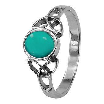 Celtic Holy Trinity Noeuds Birthstone Ring Décembre - Turquoise Stone