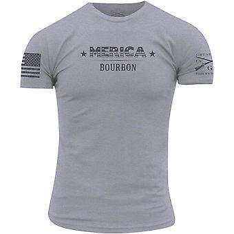 T-shirt básica do bourbon de Merica do estilo grunt - cinza claro