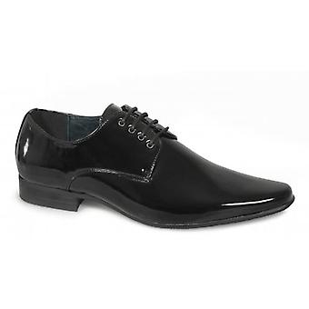Goor Morgan Mens 4 Eyelet Pointed Patent Dress Chaussures Noir