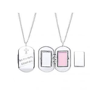 Eternity Sterling Silver Cremation Dog Tag Locket And 18'' Chain