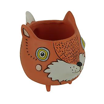 Allen mönster orange keramiska baby Fox inomhus utomhus dekorativa planter Pot