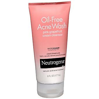 Neutrogena oil-free acne wash cream cleanser, pink grapefruit, 6 oz
