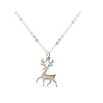 Gemshine hjort elg gevir halssmykke med anheng 925 sølv, gullbelagt, Rose Bambi