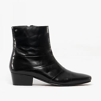 Club Cubano Angelo Enrique Mens Leather Cuban Heel Boots Black