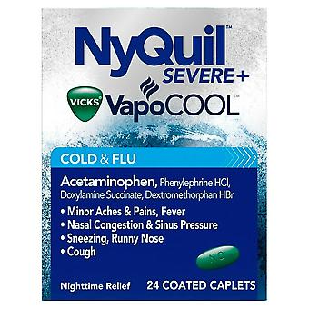 Nyquil severe cold & flu, max strength, caplets, 24 ea