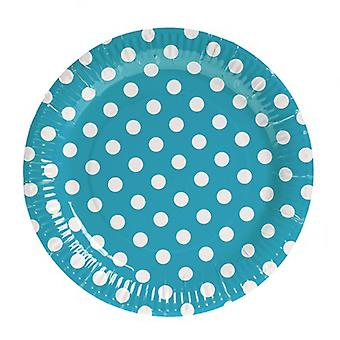 TRIXES 10PC Pack Blue Polka Dot Party Paper Plates