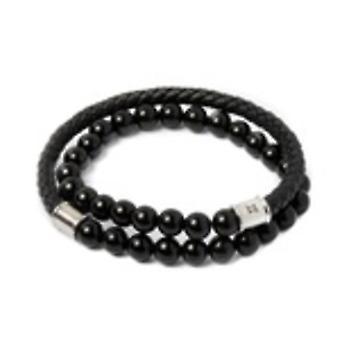 Gemini O1 Bracelet - Olympus Twin Onyx Black and Leather Tress Black Men