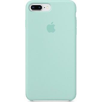 Originalverpackt  Apple Silikon Mikrofaser Cover Hülle für iPhone 8+ Plus / 7+ - Marine Grün