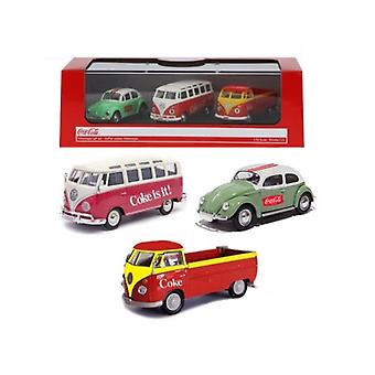 Volkswagen Coca Cola 3 Piece Gift Set 1/72 Diecast Car Models by Motorcity Classics