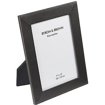 Byron og klassiske slank Lær ramme 6 x 4 - Brown