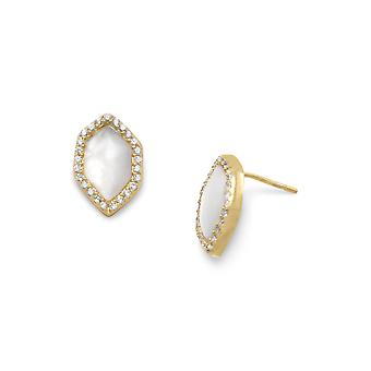 14k Gold Plated 925 Sterling Silver Hexagon Shape Mother Of Pearl CZ Cubic Zirconia Simulated Diamond Halo Post Back Ear