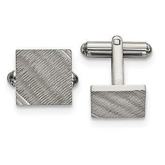 17.2mm Stainless Steel Polished and Textured Square Cuff Links Jewelry Gifts for Men