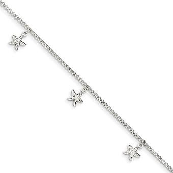 1.5mm 925 Sterling Silver Starfish Dangles With 1 Inch Ext. Anklet 9 Inch Jewelry Gifts for Women